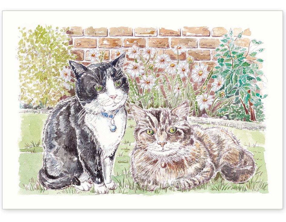 Cat Friends in the Garden