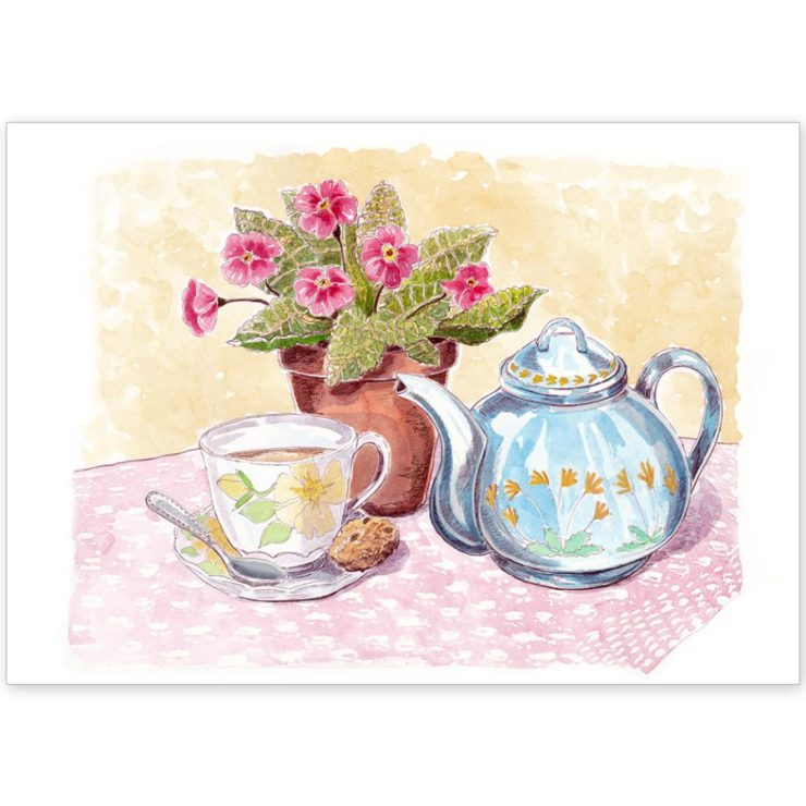 Teapot Watercolour Scene