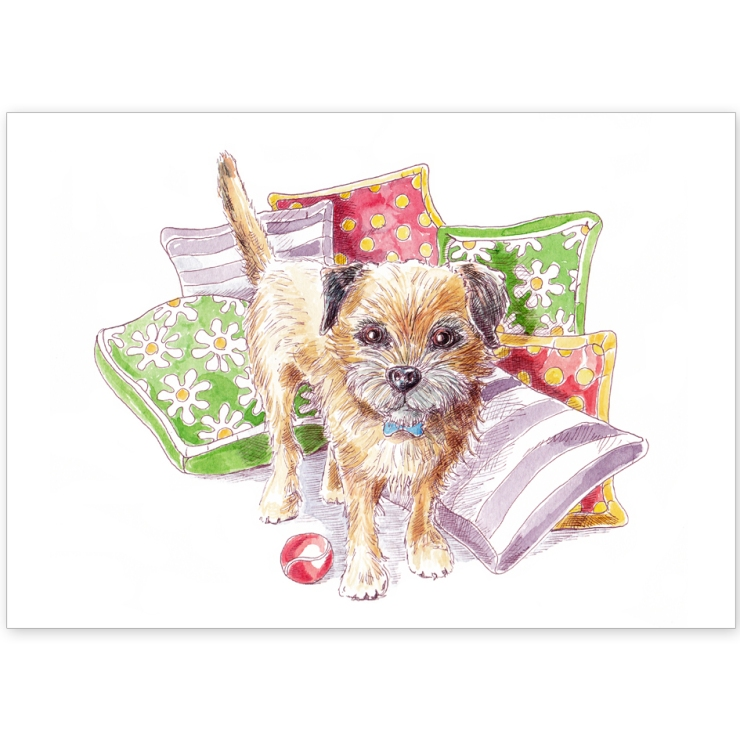 Border Terrier with Cushions and Ball - Greeting Card