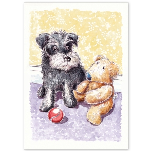 Miniature Schnauzer with Teddy and Ball - Greeting Card