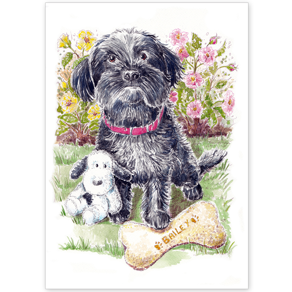 Pet Portrait - Bailey Goodson the Yorkipoo with Favourite Toys