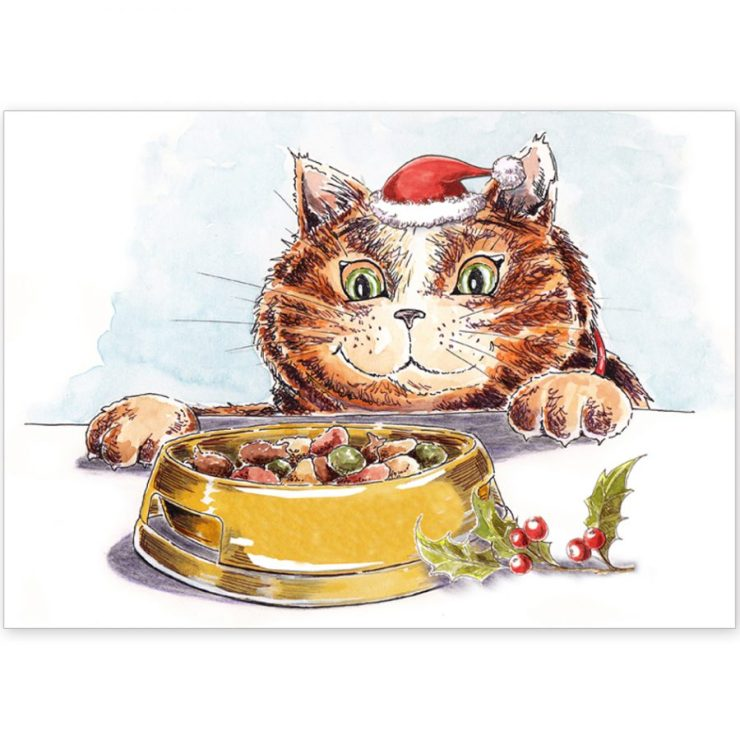 Tabby Cat at Christmas dinner