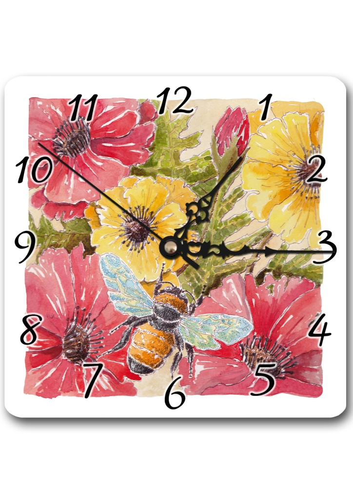 Poppies and Bee Clock