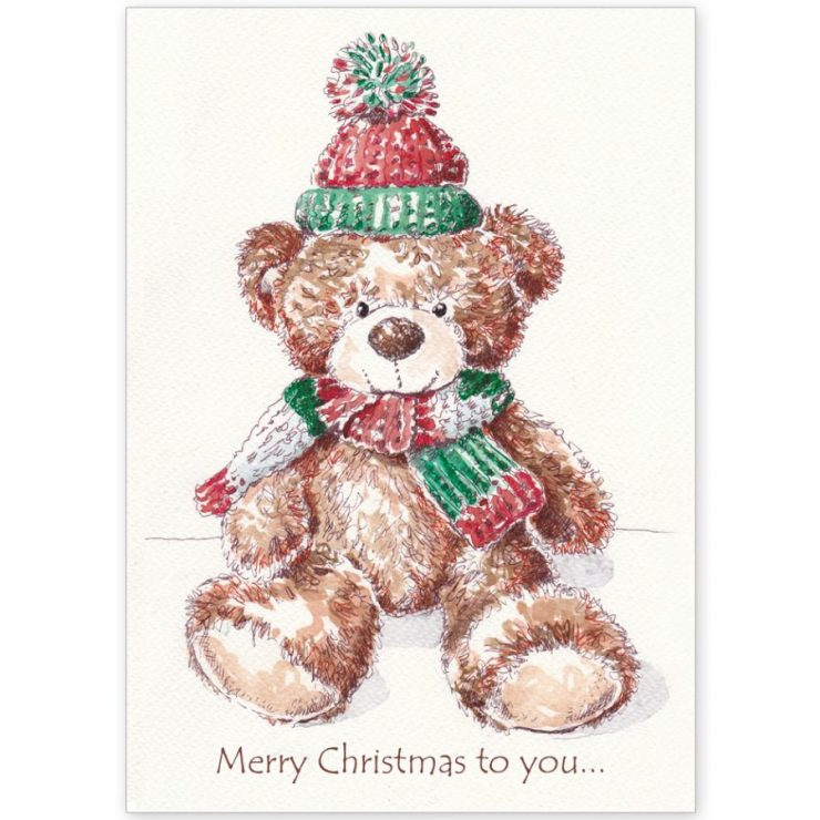 Christmas Teddy in Bobble Hat