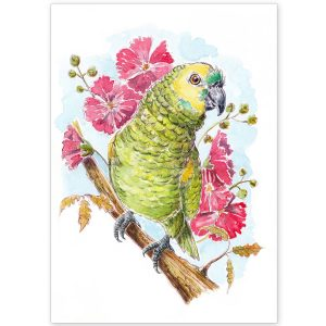 Parrot with Hibiscus flowers