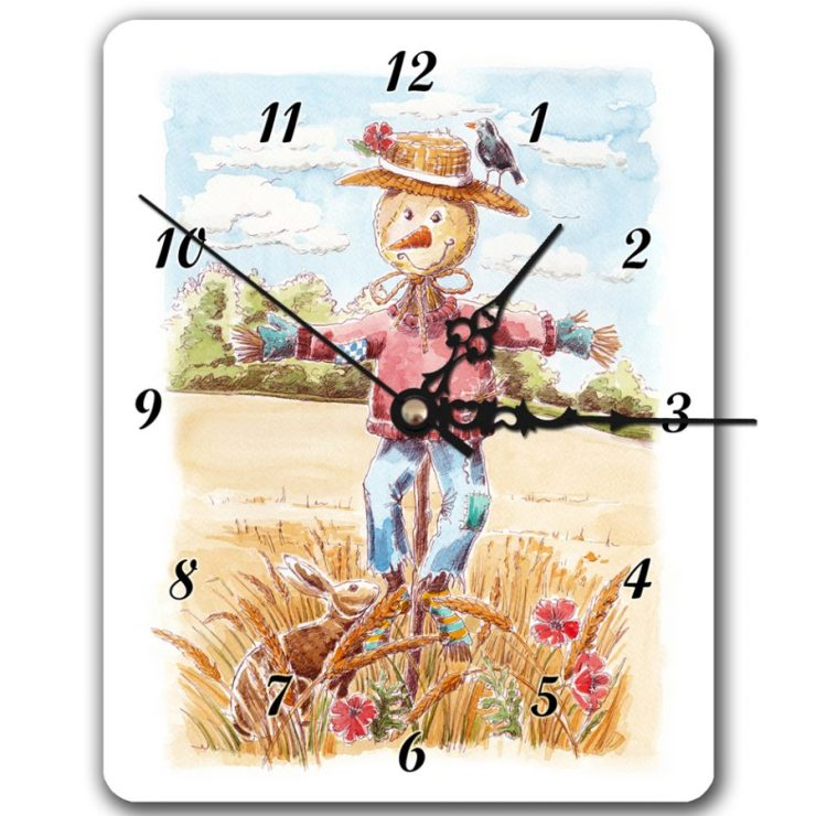 Scarecrow and hare clock