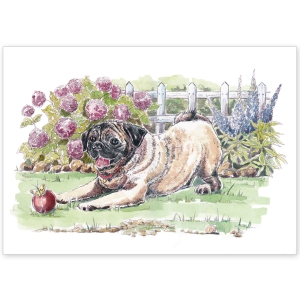 Pug in the Garden - Greeting Card