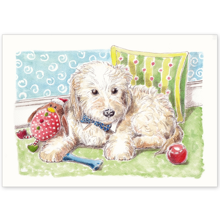Cockapoo Puppy with Toys - Greeting Card