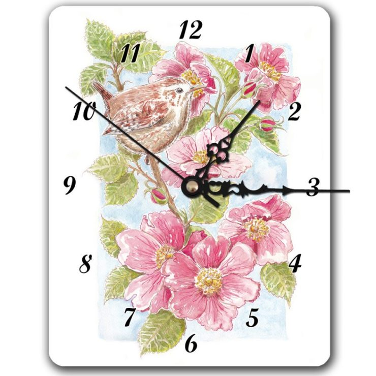 Wren and roses clock