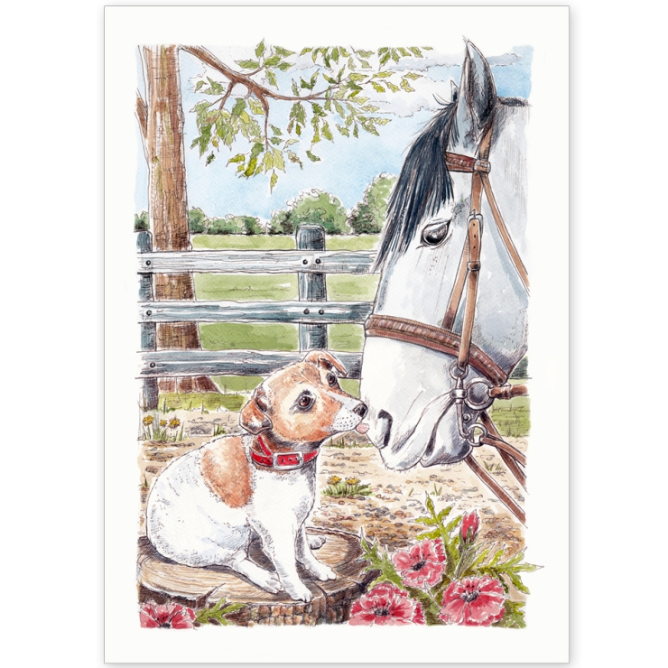 Jack Russell and Horse - Greeting Card