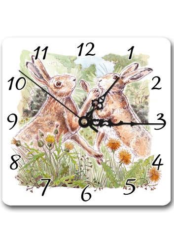 Boxing Hares Clock