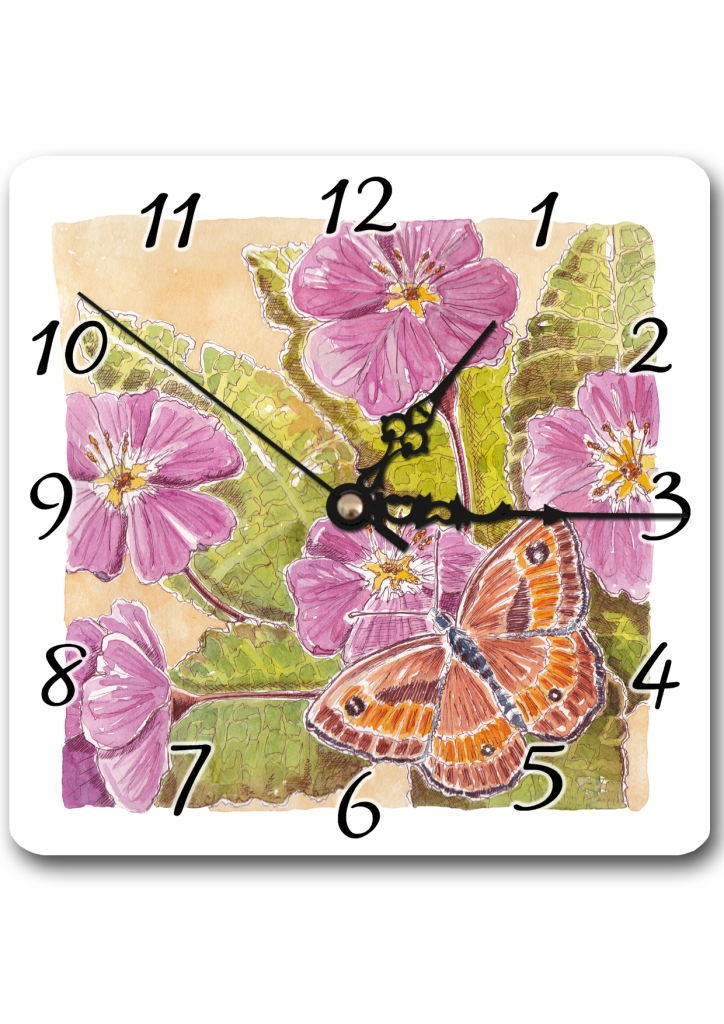 Primrose and Butterfly Clock
