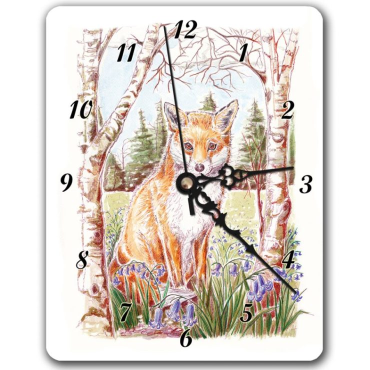 Fox and bluebells clock