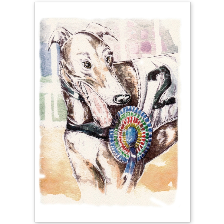 Greyhound- The Winner! - Greeting Card